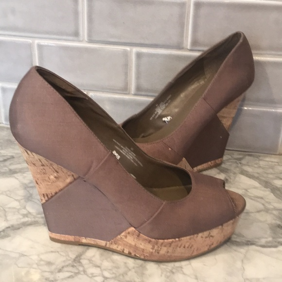 64a61e54697 5  25 Mossimo cork wedge taupe brown peep toe 9.5